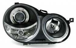 Headlights clear glass-black suitable for VW Polo 9N year 8.01-6.05