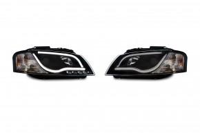 Scheinwerfer, inkl. Tagfahrlicht, Xenon-Optik-Linse mit Doppelfunktion, integrierte Blinker, LWR, Klarglas / schwarz passend für Audi A3 8P (auch Sportback) Bj. 03-08