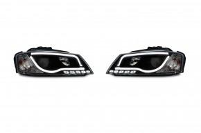 Scheinwerfer, inkl. Tagfahrlicht, Xenon-Optik-Linse mit Doppelfunktion, integrierte Blinker, LWR, Klarglas / schwarz passend für Audi A3 8P (auch für Sportback & Cabrio) Bj. 08-12