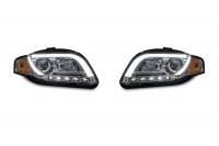 Scheinwerfer, Tagfahrlicht Design, Xenon-Optik-Linse, inkl. Blinker,Klarglas/chrom passend für Audi A4 Avant, Cabrio Bj. 05-08