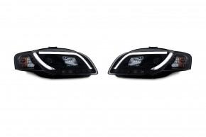 Scheinwerfer, Tagfahrlicht Design, Xenon-Optik-Linse, inkl. Blinker,Klarglas/schwarz passend für Audi A4 B7 Avant, Cabrio Bj. 05-08