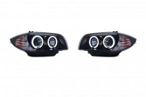 AE-DesignScheinwerfer mit LED Standlichtringen passend für BMW 1er E81 Dreitürer, E82 Coupé, E87 Fünftürer und E88 Cabrio Bj. 04-11