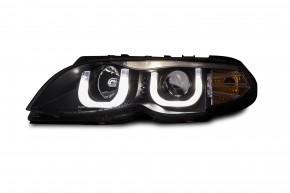 Scheinwerfersatz  Klarglas/Schwarz, Projektorlinse, Tagfahrlichtdesign, inkl. Blinker passend für BMW E46 Limo/Toruing Bj. 02-05