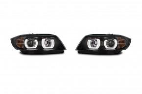 Scheinwerfersatz  Klarglas/Schwarz, Projektorlinse, Tagfahrlichtdesign, inkl. Blinker passend für BMW E90/E91 Touring, Bj. 05-08 für Fahrzeuge mit Xenon Licht