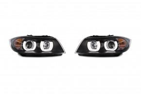 Scheinwerfersatz  Klarglas/Schwarz, Projektorlinse, Tagfahrlichtdesign, inkl. Blinker passend für BMW E90/E91 Touring, Bj. 05-08 nicht für Xenon!