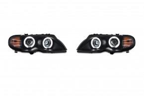 AE-Design Scheinwerfer mit CCFL Ringen passend für BMW E46 Limousine und Touring, Bj. 02-05
