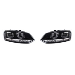 DRL-Design Headlights suitable for VW Polo 6R year 03.2009-04.2014