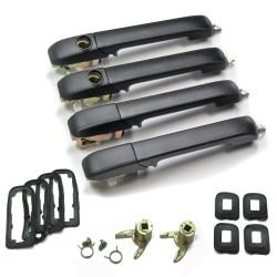Door handle set 4 pieces, black suitable for VW Golf 2
