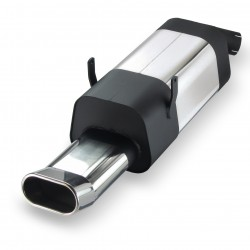 Stainless steel rear Exhaust box with oval DTM-Look tailpipes straight suitable for BMW 3 series E36 320i-323i
