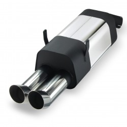 Stainless steel rear Exhaust box with 2x 76mm tailpipes DTM-Look suitable for BMW 3 series E36 320i-323i, 6 cylinders