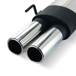 Stainless steel rear Exhaust box with 2x 76mm tailpipes straight suitable for VW Golf 3 und Golf 4 Convertable
