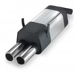 Stainless steel rear Exhaust box with 2x 76mm tailpipes straight suitable for BMW 3 series E36 4 cylinders 316i and 318i