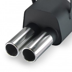 Stainless steel rear Exhaust box with 2x 76mm tailpipes straight suitable for BMW 3 series E36 320i-323i, 6 cylinders