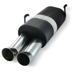 Edelstahl-Endschalldämpfer mit 2x 76mm DTM-Look Endrohren passend für Peugeot 206 Typ 2 ab Bj. 98-