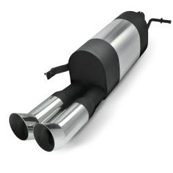 Edelstahl-Endschalldämpfer mit 2x 76mm DTM-Look Endrohren passend für VW Polo 9N und 9N3