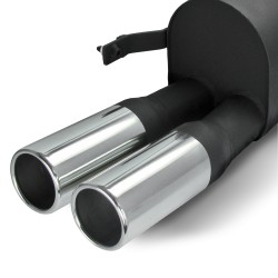 Stainless steel rear Exhaust box with 2x 76mm tailpipes straight suitable for VW Polo 9N and 9N3