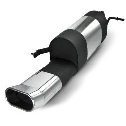 Stainless steel rear Exhaust box with oval tailpipe DTM-Look suitable for VW Polo 9N and 9N3