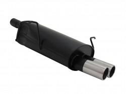 Stahl Endschalldämpfer mit 2x 76mm Endrohren gerade passend für BMW 3er E46 316i, 318i und 318ci
