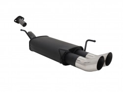 Steel rear muffler with 2x 76mm tailpipes DTM-Look suitable for Opel Astra G CC hatchback year 03.98 - 03.04