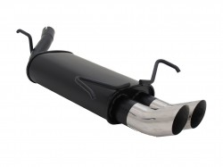 Steel rear muffler with 2x 76mm tailpipes DTM-Look suitable for Opel Corsa C year 09.00 - 10.06