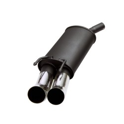 Steel rear muffler with 2x 76mm tailpipes DTM-Look suitable for VW Golf 3 (1HXO/1EXO) and Golf 4 (1E7) Convertable