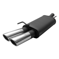 Muffler, VW Beetle 1,4 / 1,6 / 1,8 / 1,8T / 1,9TDI / 2,0 except RSI, 2 x 76 mm SR design, approved ABE