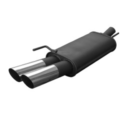 Muffler, Opel Vectra A 1,4/ 1,6/ 1,7 Diesel / 1,8/ 2,0, 2 x 76 mm MS design, approved (ABE)