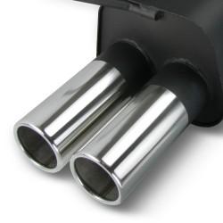 Silencieux arrière en acier brides, 2X sorties rondes 76 mm, Bridés, biseautées, certifié ABE- Qualité Allemande