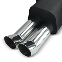 Stahl-Endschalldämpfer mit 2x 76mm DTM-Look Endrohren passend für BMW E36 6 Zylinder Limosine, Touring, Coupe und Cabrio