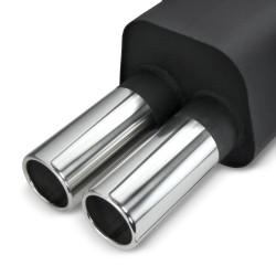 Silencieux en acier Steelpower, avec VA-tuyau d'échappement pour BMW E36 6 cyl, 2x76 rond, 320i - 323i, pas compact, avec ABE