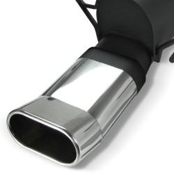 Stahl-Endschalldämpfer mit oval DTM-Look Endrohr passend für Opel Astra H Schrägheck, Fastback, Limousine und GTC Coupe