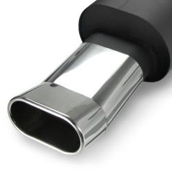 Stahl-Endschalldämpfer mit oval DTM-Look Endrohr passend für Peugeot 206 ( Typ2 )